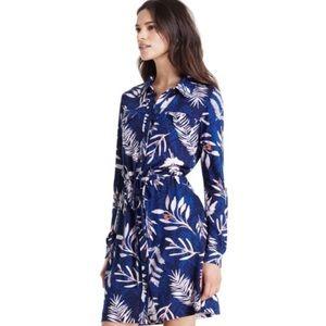 Diane Von Furstenberg Jones Silk Shirt Dress Blue